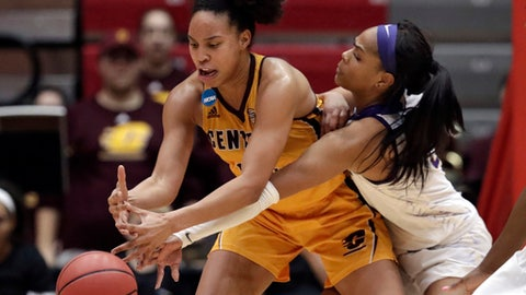Central Michigan's Tinara Moore, left, and LSU's Ayana Mitchell battle for the ball in the second half during a first-round game in the NCAA women's college basketball tournament, Saturday, March 17, 2018, in Columbus, Ohio. Central Michigan won 78-69. (AP Photo/Tony Dejak)