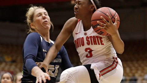 George Washington's Kelli Prange, left, fouls Ohio State Buckeyes' Kelsey Mitchell in the first half during a first-round game in the NCAA women's college basketball tournament Saturday, March 17, 2018, in Columbus, Ohio. (AP Photo/Tony Dejak)
