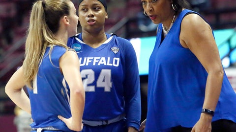 Buffalo's head coach Felisha Legette-Jack, right, confers with guards Stephanie Reid, left, and Cierra Dillard during a time out while playing against South Florida in a first-round game at the NCAA women's college basketball tournament, Saturday, March 17, 2018, in Tallahassee, Fla. Buffalo won 102-79. (AP Photo/Steve Cannon)