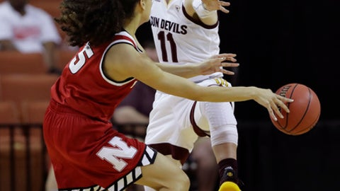 Nebraska guard Nicea Eliely (5) passes the ball around Arizona State guard Robbi Ryan (11) during a first-round game in the NCAA women's college basketball tournament, Saturday, March 17, 2018, in Austin, Texas. (AP Photo/Eric Gay)