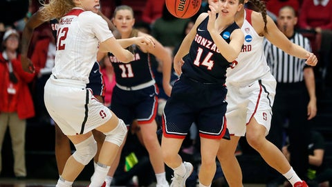 Gonzaga guard Emma Stach (14) steals the ball from Stanford guard Brittany McPhee, left, during the first half of a first-round game in the NCAA women's college basketball tournament in Stanford, Calif., Saturday, March 17, 2018. (AP Photo/Tony Avelar)