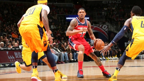 WASHINGTON, DC -MARCH 17: Bradley Beal #3 of the Washington Wizards handles the ball against the Indiana Pacers on March 17, 2018 at Capital One Arena in Washington, DC. (Photo by Ned Dishman/NBAE via Getty Images)