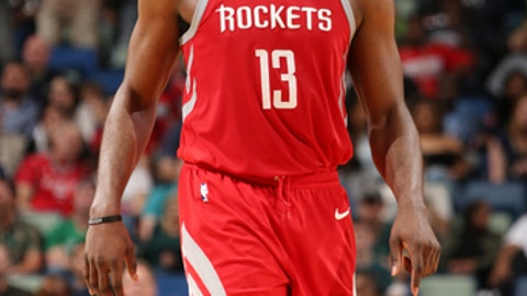 NEW ORLEANS, LA - MARCH 17:  James Harden #13 of the Houston Rockets looks on during the game against the New Orleans Pelicans on March 17, 2018 at the Smoothie King Center in New Orleans, Louisiana. (Photo by Layne Murdoch/NBAE via Getty Images)
