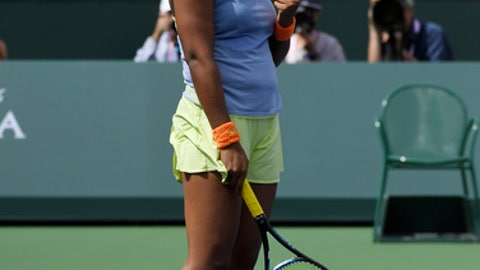 Naomi Osaka, of Japan, reacts to defeating Daria Kasatkina, of Russia, in the women's final at the BNP Paribas Open tennis tournament, Sunday, March 18, 2018, in Indian Wells, Calif. Osaka won 6-3, 6-2. (AP Photo/Mark J. Terrill)