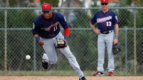 FILE - In this Feb. 21, 2018, file photo, Minnesota Twins shortstop Jorge Polanco (11) practices a drill during baseball spring training in Fort Myers, Fla. Polanco has been suspended 80 games after testing positive for a performance-enhancing substance. The commissioner's office announced the penalty Sunday, March 18. Polanco tested positive for Stanozolol. (AP Photo/John Minchillo, File)
