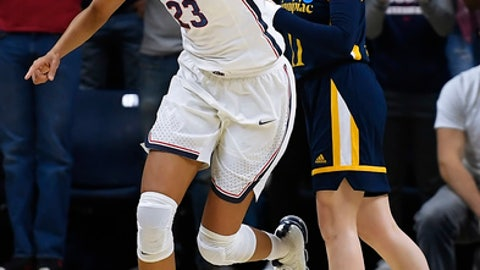 Connecticut's Azur Stevens (23) reacts after a basket during the first half of a second-round game against Quinnipiac in the NCAA women's college basketball tournament in in Storrs, Conn., Monday, March 19, 2018. (AP Photo/Jessica Hill)