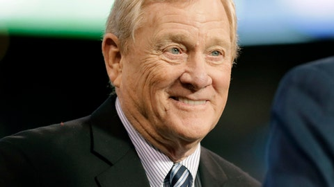 FILE - In this Jan. 1, 2017, file photo, former Indianapolis Colts general manager Bill Polian smiles as he's inducted into the team's Ring of Honor during halftime of an NFL football game in Indianapolis. The Alliance of American Football will kick off the Sunday following the Super Bowl, on network television (CBS) as well as through a multitude of free digital platforms. The Alliance is the creation of Pro Football Hall of Famer Bill Polian, one of the most respected and accomplished executives in NFL history, and Charlie Ebersol, a longtime TV and film producer. (AP Photo/Darron Cummings, File)