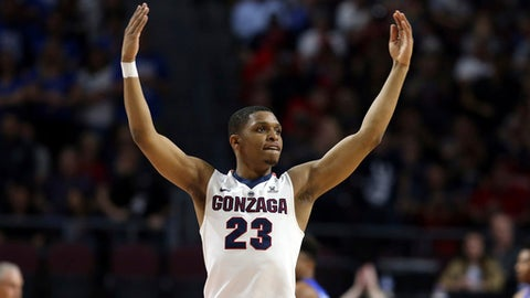 FILE - In this March 6, 2018 file photo Gonzaga's Zach Norvell Jr. raises his hands to the crowd during the first half of the West Coast Conference tournament championship NCAA college basketball game against BYU in Las Vegas. Norvell is providing Gonzaga with fiery spark on the way to the Sweet 16. Norvell hit tiebreaking 3-pointer in NCAA Tournament opening round and scored 28 points in second round. (AP Photo/Isaac Brekken, file)