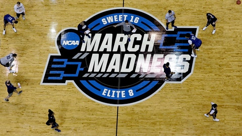 Nevada players and coaches hold a practice at the NCAA men's college basketball tournament Wednesday, March 21, 2018, in Atlanta. Nevada faces Loyola-Chicago in a regional semifinal on Thursday. (AP Photo/David Goldman)