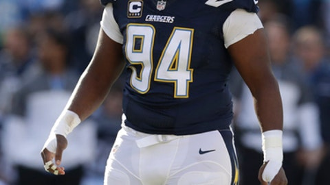 San Diego Chargers defensive end Corey Liuget (94) during an NFL football game against the Kansas City Chiefs Sunday, Jan. 1, 2017, in San Diego. (AP Photo/Rick Scuteri)