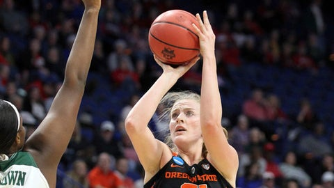 Oregon State's Marie Gulich, right, shoots under pressure from Baylor's Kalani Brown during the first half of an NCAA women's college basketball tournament regional semifinal Friday, March 23, 2018, in Lexington, Ky. (AP Photo/James Crisp)