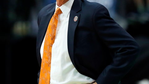 FILE - In this March 15, 2018, file photo, Tennessee head coach Rick Barnes instructs his team against Wright State in a first-round game at the NCAA college basketball tournament in Dallas. Tennessee discovered the thin line separating celebration from devastation in the NCAA Tournament when it lost in the closing seconds to Loyola-Chicago, which made it to the Final Four. (AP Photo/Tony Gutierrez, File)