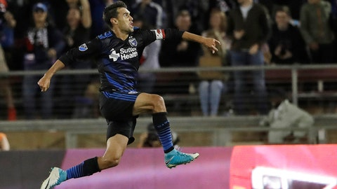 FILE - In this July 1, 2017, file photo, San Jose Earthquakes forward Chris Wondolowski leaps after scoring against the Los Angeles Galaxy during the second half of an MLS soccer match, in San Jose, Calif. Early in his 14th season in Major League Soccer, Chris Wondolowski no doubt knows the question is coming. About Landon Donovan. About the record. And about whether hell break it. (AP Photo/Marcio Jose Sanchez, File)