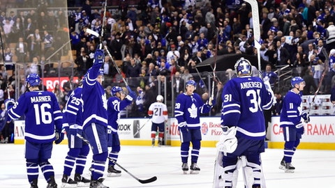 The Toronto Maple Leafs salute fans following a win over the Florida Panthers in an NHL hockey game Wednesday, March 28, 2018, in Toronto. (Frank Gunn/The Canadian Press via AP)