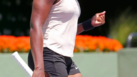 Sloane Stephens reacts after winning a game against Victoria Azarenka, of Belarus, during their semifinal match in the Miami Open tennis tournament, Thursday, March 29, 2018, in Key Biscayne, Fla. (AP Photo/Joe Skipper)