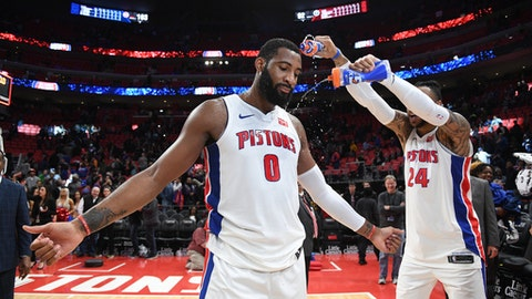 DETROIT, MI - MARCH 29: Andre Drummond #0 of the Detroit Pistons celebrates after the game against the Washington Wizards on March 29, 2018 at Little Caesars Arena in Detroit, Michigan. (Photo by Chris Schwegler/NBAE via Getty Images)