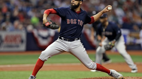 Boston Red Sox starting pitcher David Price delivers to the Tampa Bay Rays during the fourth inning of a baseball game Friday, March 30, 2018, in St. Petersburg, Fla. (AP Photo/Chris O'Meara)