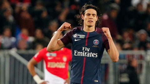 PSG's Edison Cavani celebrates after scoring his side first goal during the League Cup final soccer match between Paris Saint Germain and Monaco in Bordeaux, southwestern France, Saturday, March 31, 2018. (AP Photo/Thibault Camus)