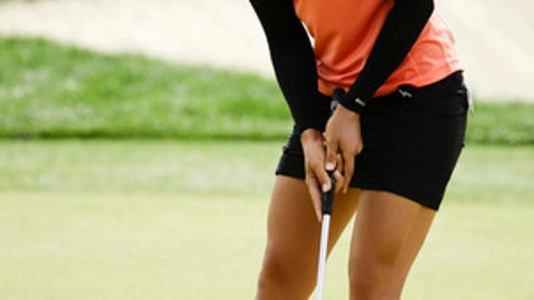 Pernilla Lindberg, of Sweden, reacts to her missed birdie putt on the second hole during the third round of the LPGA Tour ANA Inspiration golf tournament at Mission Hills Country Club, Saturday, March 31, 2018, in Rancho Mirage, Calif. (AP Photo/Chris Carlson)