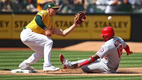 Los Angeles Angels' Jefry Marte, right, steals third base as Oakland Athletics' Matt Chapman waits for the ball during the sixth inning of a baseball game on Saturday, March 31, 2018, in Oakland, Calif. (AP Photo/Ben Margot)