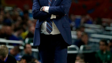 Kansas head coach Bill Self watches from the bench during the first half against Villanova in the semifinals of the Final Four NCAA college basketball tournament, Saturday, March 31, 2018, in San Antonio. (AP Photo/David J. Phillip)