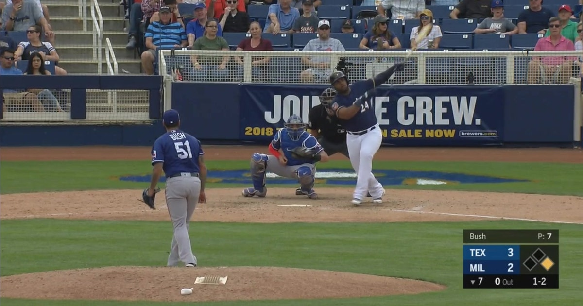 WATCH: Aguilar's homer powers Brewers past Rangers