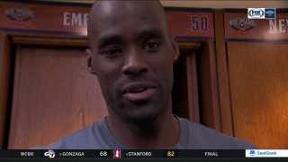 Emeka Okafor reacts to Gentry's postgame comments after loss