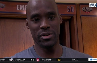 Images of Emeka Okafor reacts to Gentry's postgame comments after loss