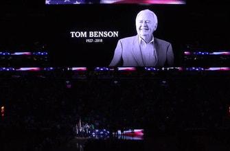 Images of Tom Benson Tribute Before Tip vs. Rockets
