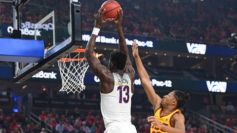 Mar 10, 2018; Las Vegas, NV, USA; Arizona Wildcats forward Deandre Ayton (13) looks to dunk against USC Trojans guard Elijah Stewart (30) during the Pac-12 Tournament championship at T-Mobile Arena. Mandatory Credit: Stephen R. Sylvanie-USA TODAY Sports