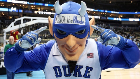 Mar 17, 2018; Pittsburgh, PA, USA; The Duke Blue Devils mascot on the court after defeating the Rhode Island Rams in the second round of the 2018 NCAA Tournament at PPG Paints Arena. Mandatory Credit: Charles LeClaire-USA TODAY Sports