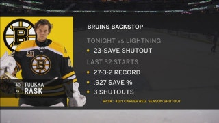 Lightning unable to get anything by Bruins goalie Tuukka Rask