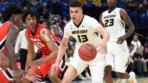Mar 8, 2018; St. Louis, MO, USA; Missouri Tigers forward Michael Porter Jr. (13) drives towards the basket against the Georgia Bulldogs during the first half of the second round of the SEC Conference Tournament at Scottrade Center. Mandatory Credit: Joe Puetz-USA TODAY Sports