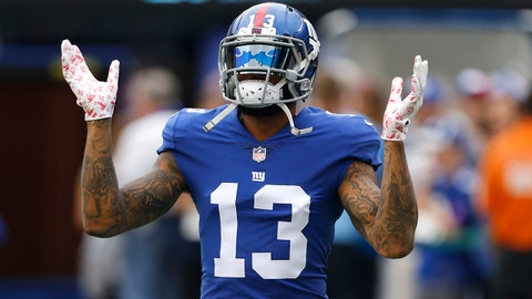 Oct 8, 2017; East Rutherford, NJ, USA; New York Giants wide receiver Odell Beckham (13) during warm up before game against Los Angeles Chargers at MetLife Stadium. Mandatory Credit: Noah K. Murray-USA TODAY Sports