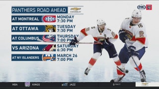Panthers play three road games over next four days