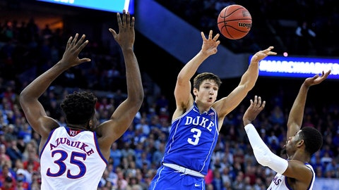 Mar 25, 2018; Omaha, NE, USA; Duke Blue Devils guard Grayson Allen (3) passes the ball against Duke Blue Devils guard Jordan Goldwire (14) and Duke Blue Devils forward Marvin Bagley III (35) during the second half in the championship game of the Midwest regional of the 2018 NCAA Tournament at CenturyLink Center. Mandatory Credit: Kyle Terada-USA TODAY Sports