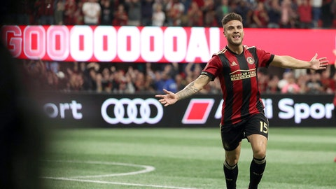 Mar 11, 2018; Atlanta, GA, USA; Atlanta United forward Hector Villalba (15) celebrates after he scored a goal during the second half against D.C. United at Mercedes-Benz Stadium. Mandatory Credit: Jason Getz-USA TODAY Sports