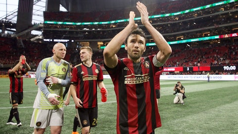 Mar 11, 2018; Atlanta, GA, USA; Atlanta United defender Michael Parkhurst (3) acknowledges fans after their game against the D.C. United at Mercedes-Benz Stadium. Mandatory Credit: Jason Getz-USA TODAY Sports
