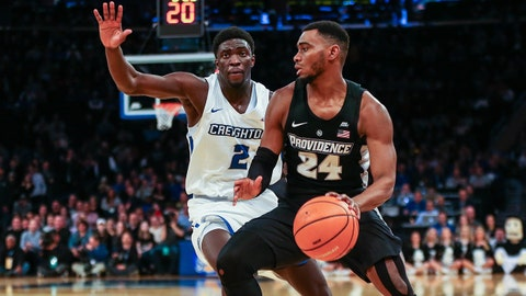 Mar 8, 2018; New York, NY, USA; Providence Friars guard Kyron Cartwright (24) drives to the basket as Creighton Bluejays guard Khyri Thomas (2) defends during the first half in the Big East Conference tournament at Madison Square Garden. Mandatory Credit: Vincent Carchietta-USA TODAY Sports