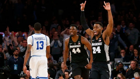 Mar 9, 2018; New York, NY, USA; Providence Friars guard Kyron Cartwright (24) celebrates after defeating Xavier Musketeers in overtime of Big East Conference Tournament semifinals game at Madison Square Garden. Mandatory Credit: Noah K. Murray-USA TODAY Sports