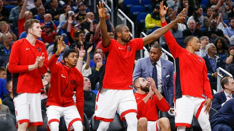 Mar 20, 2018; Orlando, FL, USA; Toronto Raptors bench reacts after forward Pascal Siakam (43) makes a 3 point shot during the second half against the Orlando Magic at Amway Center. Mandatory Credit: Reinhold Matay-USA TODAY Sports