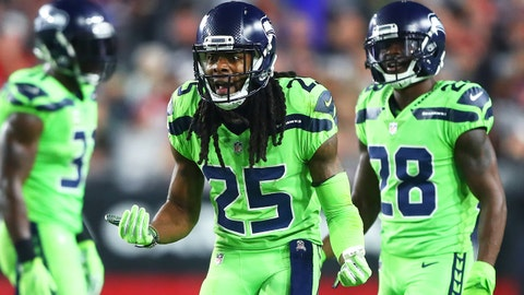 Nov 9, 2017; Glendale, AZ, USA; Seattle Seahawks cornerback Richard Sherman (25) reacts after getting a yellow penalty flag against the Arizona Cardinals at University of Phoenix Stadium. Mandatory Credit: Mark J. Rebilas-USA TODAY Sports