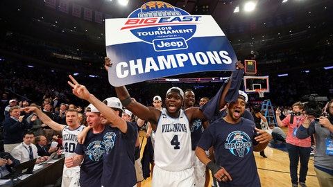 Mar 10, 2018; New York, NY, USA; Villanova Wildcats forward Eric Paschall (4) and teammates celebrate after beating the Providence Friars to win the 2018 Big East Championship at Madison Square Garden. Mandatory Credit: Danny Wild-USA TODAY Sports
