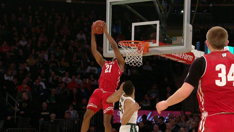 Wisconsin's Khalil Iverson finishes alley-oop with monster reverse dunk at Big Ten tourney