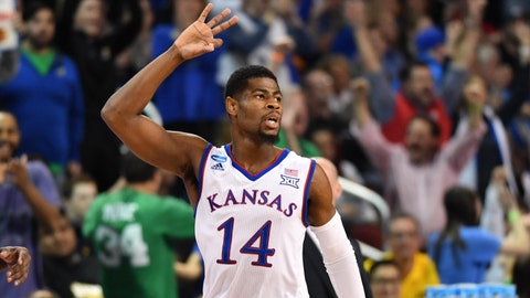 Mar 17, 2018; Wichita, KS, USA; Kansas Jayhawks guard Malik Newman (14) reacts after a three point basket against the Seton Hall Pirates in the first half in the second round of the 2018 NCAA Tournament at INTRUST Bank Arena. Mandatory Credit: Peter G. Aiken-USA TODAY Sports