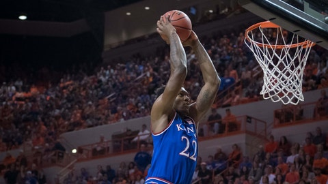 Mar 3, 2018; Stillwater, OK, USA; Kansas Jayhawks forward Silvio De Sousa (22) dunks during the first half against the Oklahoma State Cowboys at Gallagher-Iba Arena. Mandatory Credit: Rob Ferguson-USA TODAY Sports