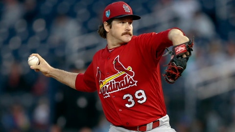 St. Louis Cardinals starting pitcher Miles Mikolas (39) works in the first inning of a spring training baseball game against the Houston Astros, Friday, March 9, 2018, in West Palm Beach, Fla. (AP Photo/John Bazemore)