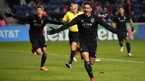 Mar 10, 2018; Bridgeview, IL, USA;  Sporting Kansas City midfielder Felipe Gutierrez (21) reacts after scoring a goal against the Chicago Fire during the second half at Bridgeview Stadium. Mandatory Credit: Mike DiNovo-USA TODAY Sports