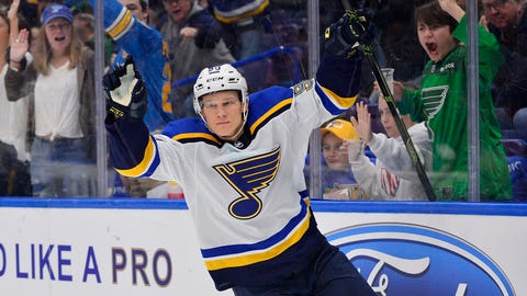 Mar 17, 2018; St. Louis, MO, USA; St. Louis Blues right wing Nikita Soshnikov (90) celebrates after scoring during the second period against the New York Rangers at Scottrade Center. Mandatory Credit: Jeff Curry-USA TODAY Sports