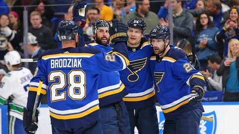 Mar 23, 2018; St. Louis, MO, USA; St. Louis Blues center Patrik Berglund (21) celebrates with teammates Colton Parayko (55) and Robert Bortuzzo (41) and Kyle Brodziak (28) after scoring a goal against the Vancouver Canucks during the second period at Scottrade Center. Mandatory Credit: Billy Hurst-USA TODAY Sports